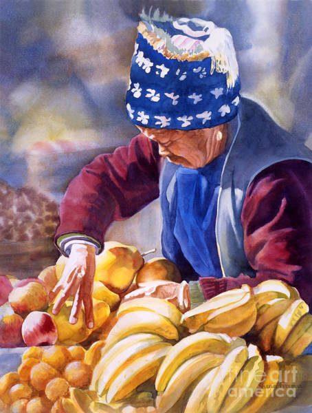 Asian Wall Art - Painting - Her Fruitstand by Sharon Freeman