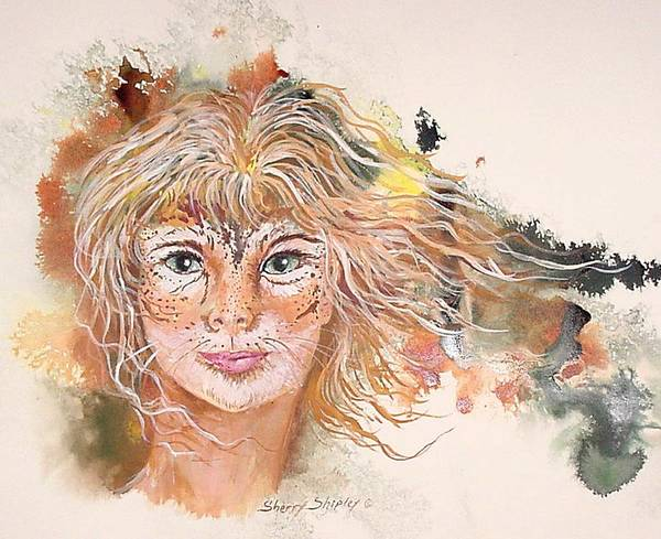 Painting - Her Inner Cat by Sherry Shipley
