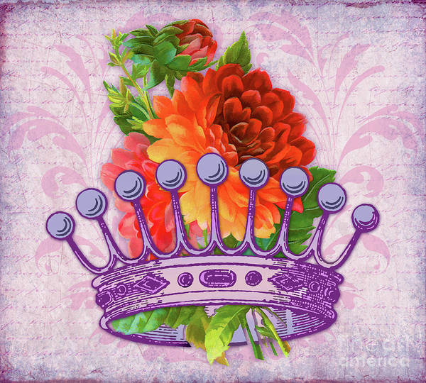 Wall Art - Digital Art - Her Majesty, Crown, Flowers, Vintage Handwriting by Tina Lavoie