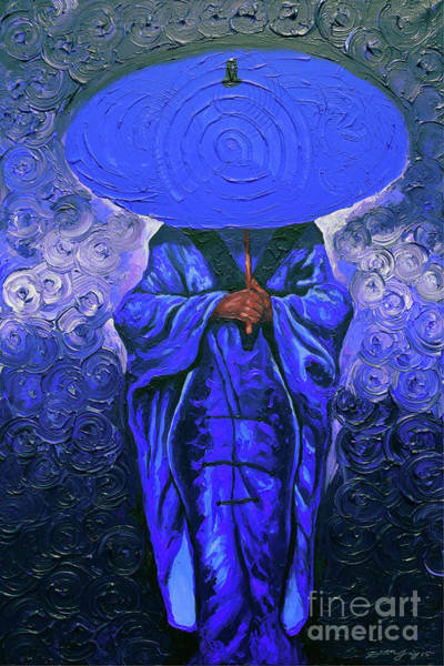 Wall Art - Painting - Her Umbrella Red Blossom Blue by The Art of DionJa'Y