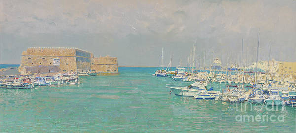 Russian Impressionism Wall Art - Painting - Heraklion. View Of The Old Port And Fortress Koules by Simon Kozhin