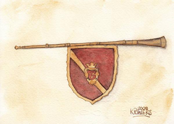 Painting - Heraldry Trumpet by Ken Powers