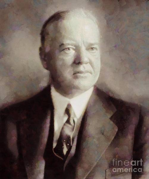 Wall Art - Painting - Herbert Hoover, President Of The United States By Sarah Kirk by Sarah Kirk