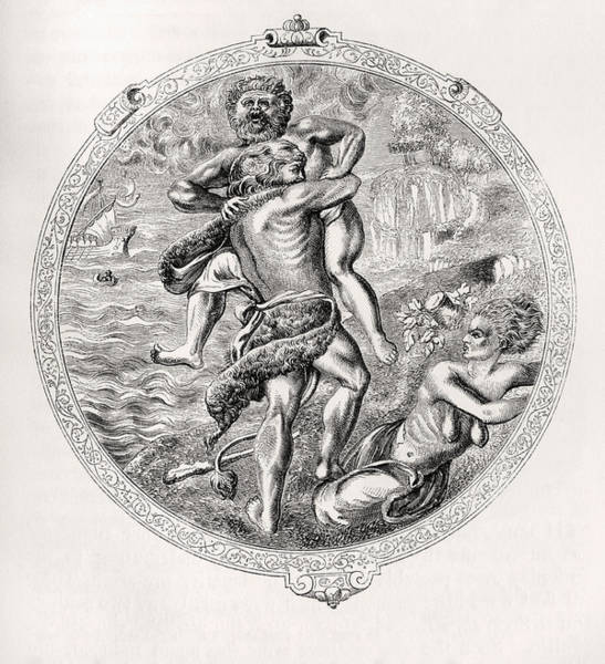 Wall Art - Drawing - Hercules And Antaeus. Medallion On The by Vintage Design Pics