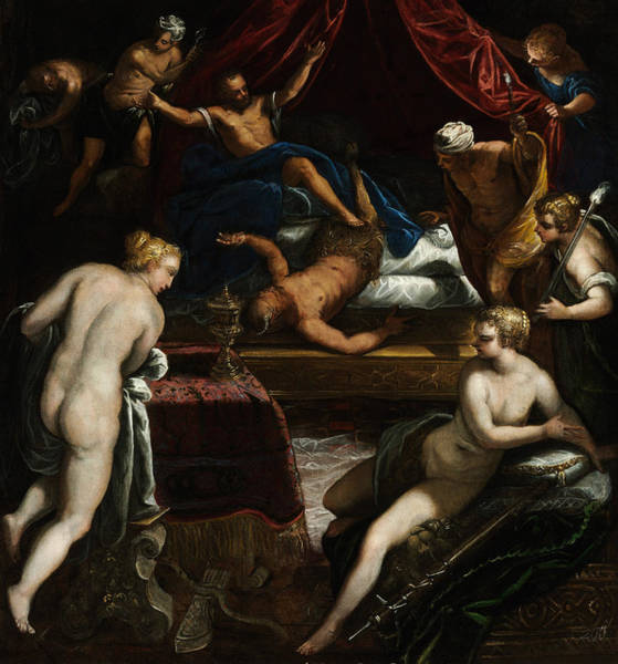 Painting - Hercules Expelling The Faun From Omphale's Bed by Tintoretto