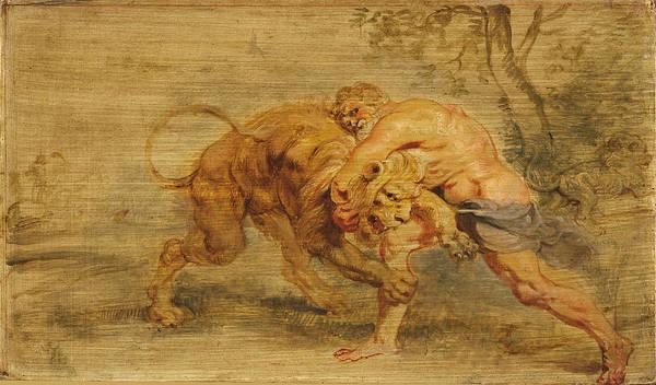 Strangling Painting - Hercules Strangling The Nemean Lion by Peter Paul Rubens
