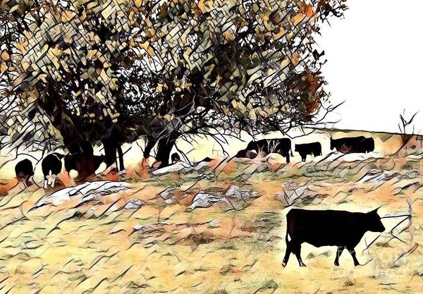 Orphan Digital Art - The Cattle On A Thousand Hills by Carliss Prosser