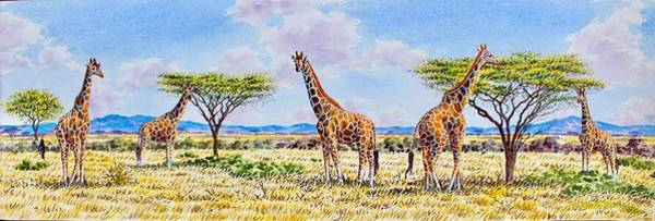 Painting - Herd Of Giraffe by Joseph Thiongo