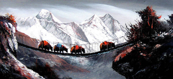 Yak Painting - Herd Of Mountain Yaks Himalaya by Whimsy Art