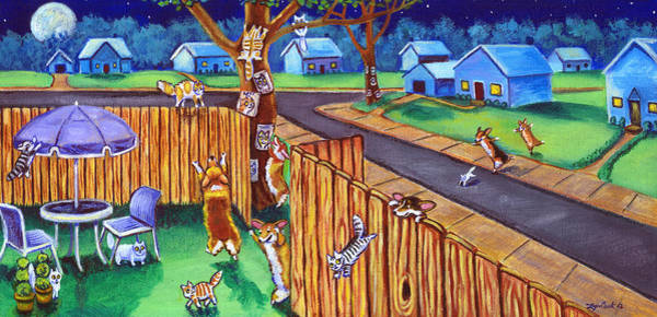 Wall Art - Painting - Herding Cats - Pembroke Welsh Corgi by Lyn Cook
