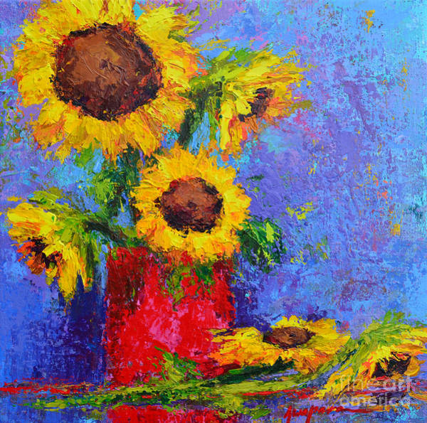 Painting - Here Comes The Sunshine Modern Impressionist Floral Still Life Palette Knife Work by Patricia Awapara