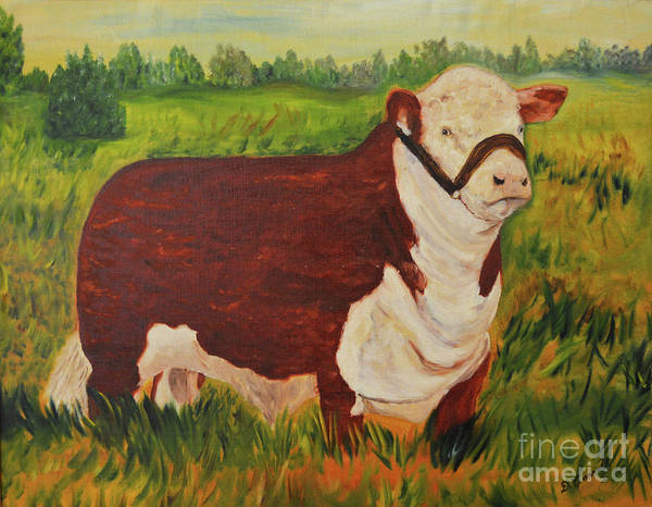 Hereford Bull Painting - Hereford Bull by Meandering Photography