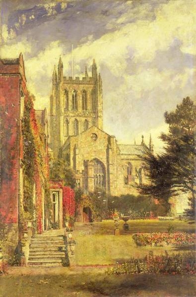 Cathedral Painting - Hereford Cathedral by John William Buxton Knight