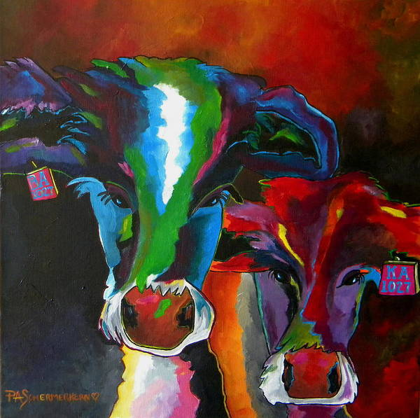 Painting - Herefords In Spring Two by Patti Schermerhorn