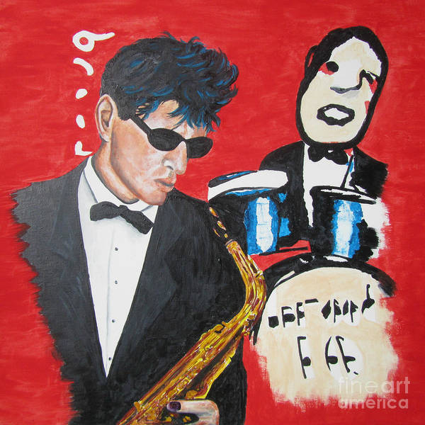 Rockstar Painting - Herman Brood Jamming With His Art by Jeepee Aero