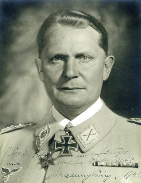 Herman Goering Autographed Photo 1945 Color Added 2016 Art Print