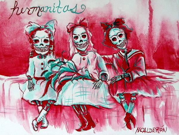 Wall Art - Painting - Hermanitas by Heather Calderon