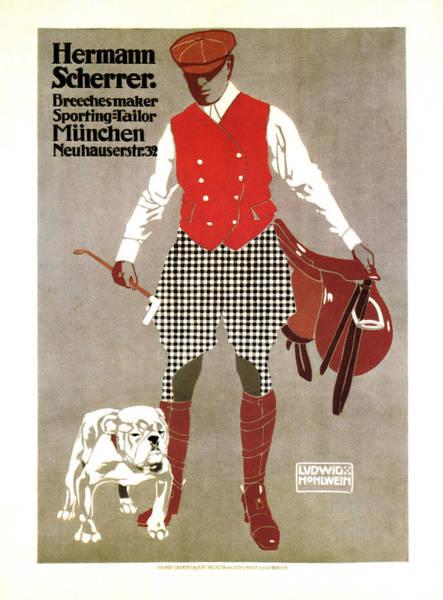 Wall Art - Mixed Media - Hermann Scherrer - Sporting Tailor, Breechesmaker - Vintage German Fashion Advertising Poster by Studio Grafiikka