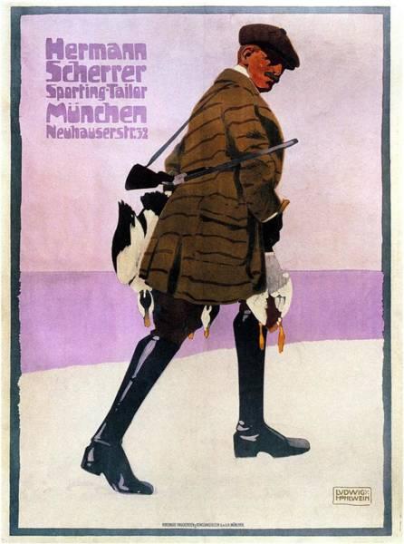 Clothing Mixed Media - Hermann Scherrer Sporting Tailor - Munich, Germany - Vintage Advertising Poster by Studio Grafiikka
