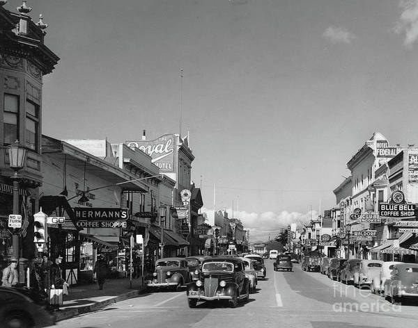 Photograph - Hermans Coffee Shop,  The Royal Hotel, Blue Bell Coffe Shop,  Alvarado  St. by California Views Archives Mr Pat Hathaway Archives