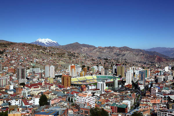 Photograph - Hernando Siles Stadium And Miraflores La Paz Bolivia by James Brunker