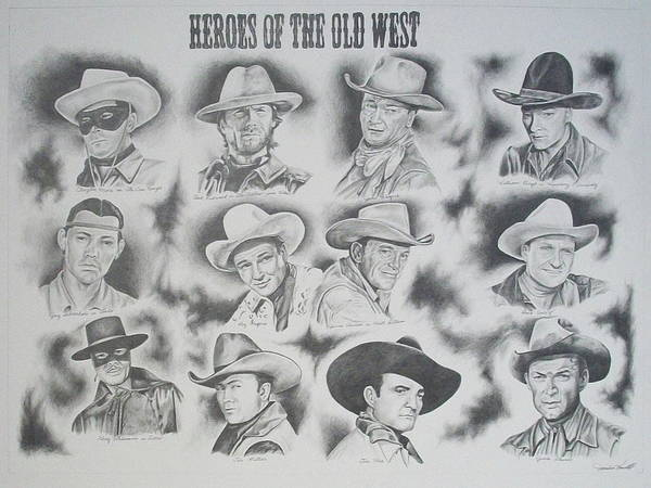 Clint Eastwood Drawing - Heroes Of The Old West by Janice Howell