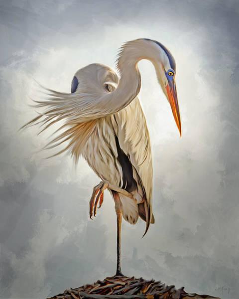 Marsh Bird Digital Art - Great Blue Heron Artwork 0660 by Linda King