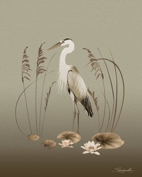 Wall Art - Digital Art - Heron And Lotus Flowers by M Spadecaller