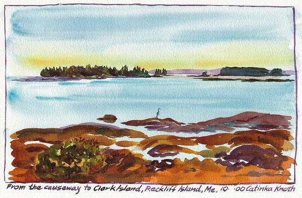 Painting - Heron At Rackliff Island Causeway Spruce Head Maine by Catinka Knoth
