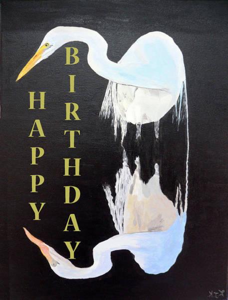 Painting - Heron Happy Birthday by Eric Kempson