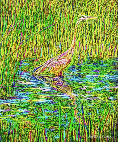 Digital Art - Heron In Deep Stillness by Joel Bruce Wallach