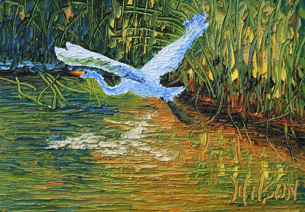 Painting - Heron In Flight by Chrys Wilson