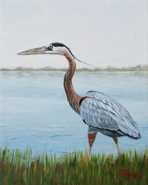 Water Foul Painting - Heron In The Marsh by Jimmie Bartlett