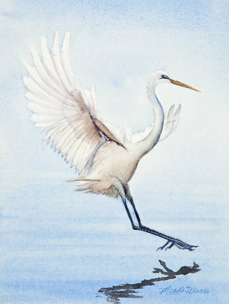 Heron Landing Watercolor Art Print