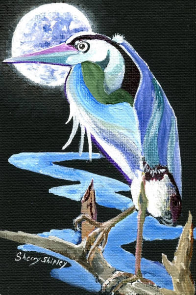 Painting - Heron Moon by Sherry Shipley