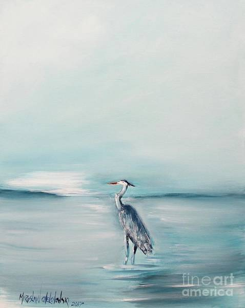Painting - Heron Silence by Miroslaw  Chelchowski