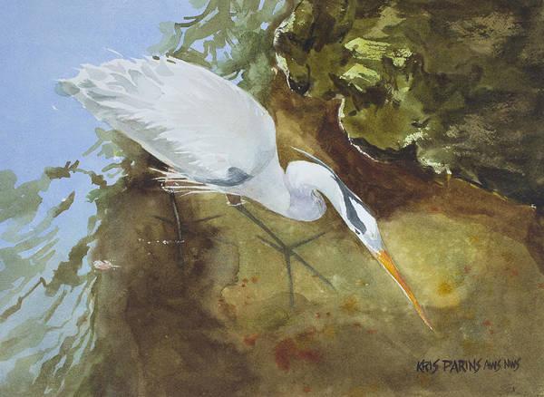 Forage Wall Art - Painting - Heron Under The Bridge by Kris Parins