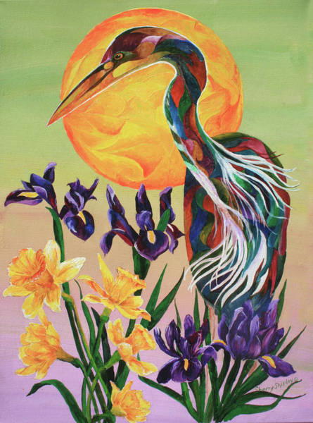 Painting - Heron With Irises by Sherry Shipley