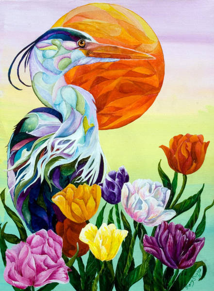 Painting - Heron With Tulips by Sherry Shipley