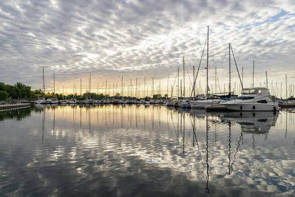 Photograph - Herringbone Sky Patterns With Boats And Yachts by Georgia Mizuleva