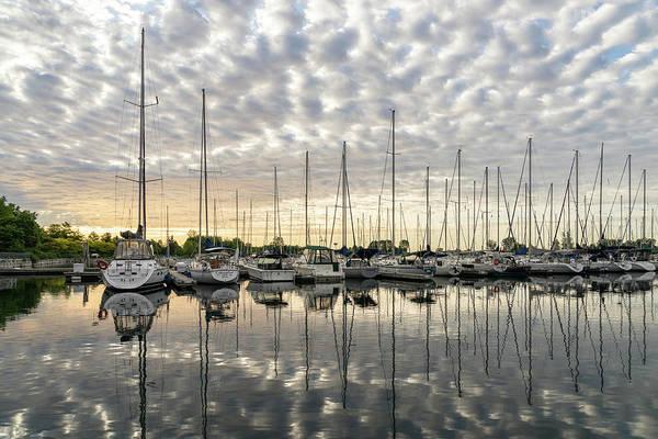 Photograph - Herringbone Sky Patterns With Yachts And Boats  by Georgia Mizuleva