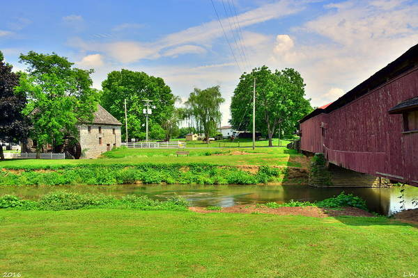 Photograph - Herr's Grist Mill And Covered Bridge by Lisa Wooten