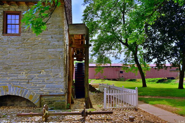Photograph - Herr's Mill And Covered Bridge 2 by Lisa Wooten
