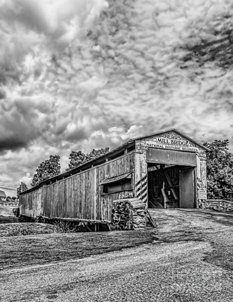 Photograph - Herr's Mill Bridge  Monochome by Nick Zelinsky