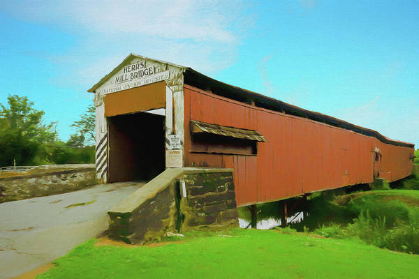 Digital Art - Herrs Mill Covered  Bridge Lancaster County Pa. by Rusty R Smith