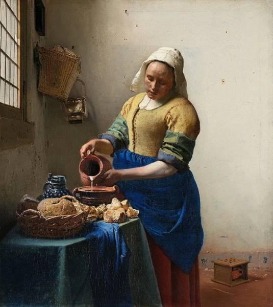 Postmark Painting - Het Melkmeisje by Johannes Vermeer