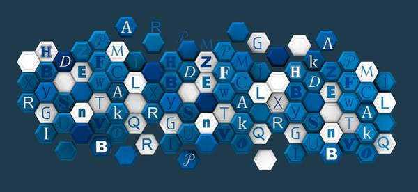 Digital Art - Hexagons Composition With Letters. by Alberto RuiZ