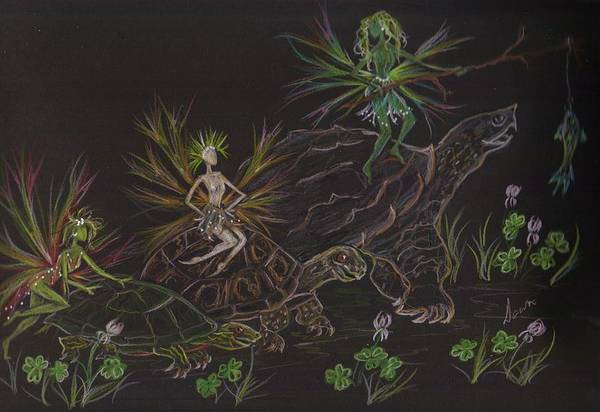 Painted Turtle Drawing - Hey No Fair That's Cheating by Dawn Fairies