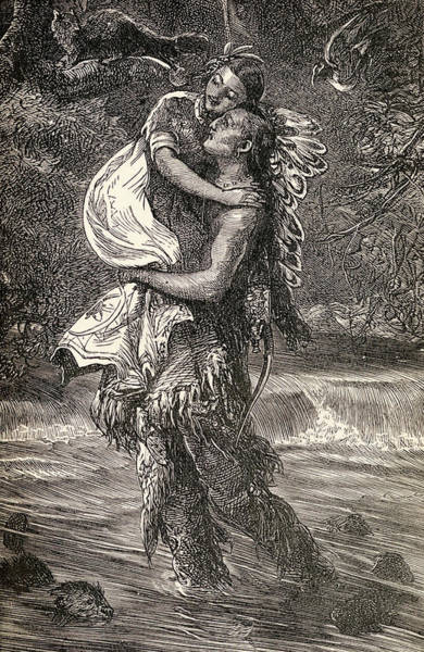 Feather River Wall Art - Drawing - Hiawatha And Minnehaha by Unknown