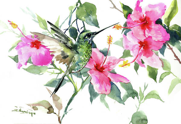 Hibiscus Flower Painting - Hibiscus And Hummingbird by Suren Nersisyan